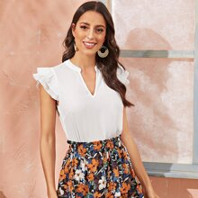 Pleated Ruffle Armhole Solid Top