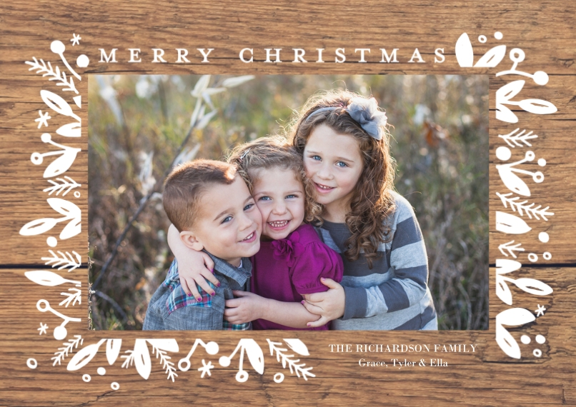 Christmas Photo Cards 5x7 Cards, Premium Cardstock 120lb with Rounded Corners, Card & Stationery -Christmas Framed Berries