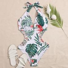 Einteiliger Badeanzug mit tropischem Muster, Ausschnitt und Neckholder
