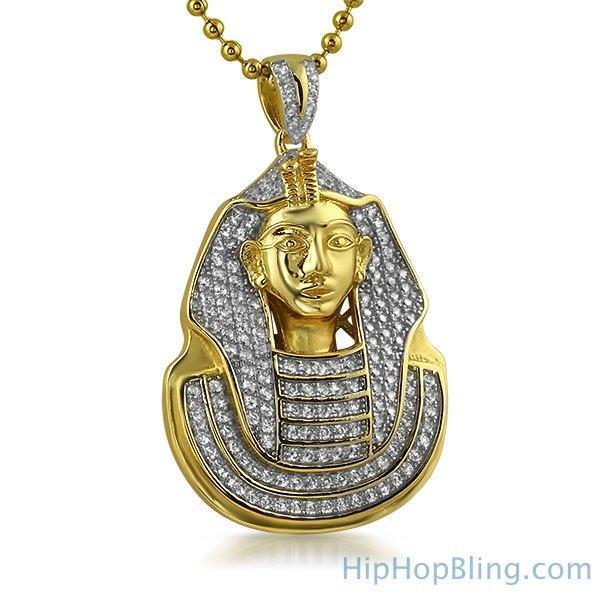 Gold .925 Sterling Silver Pharaoh CZ Pendant Mini