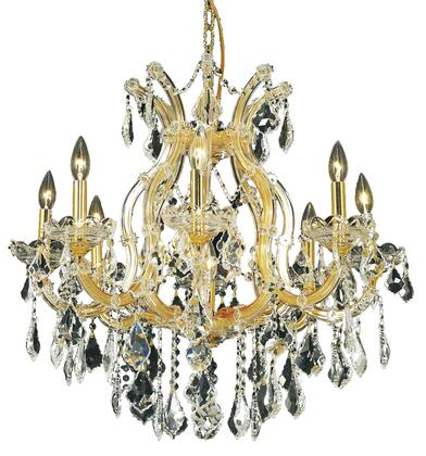 2800D26G/SS 2800 Maria Theresa Collection Hanging Fixture D26in H26in Lt: 8+1 Gold Finish (Swarovski Strass/Elements