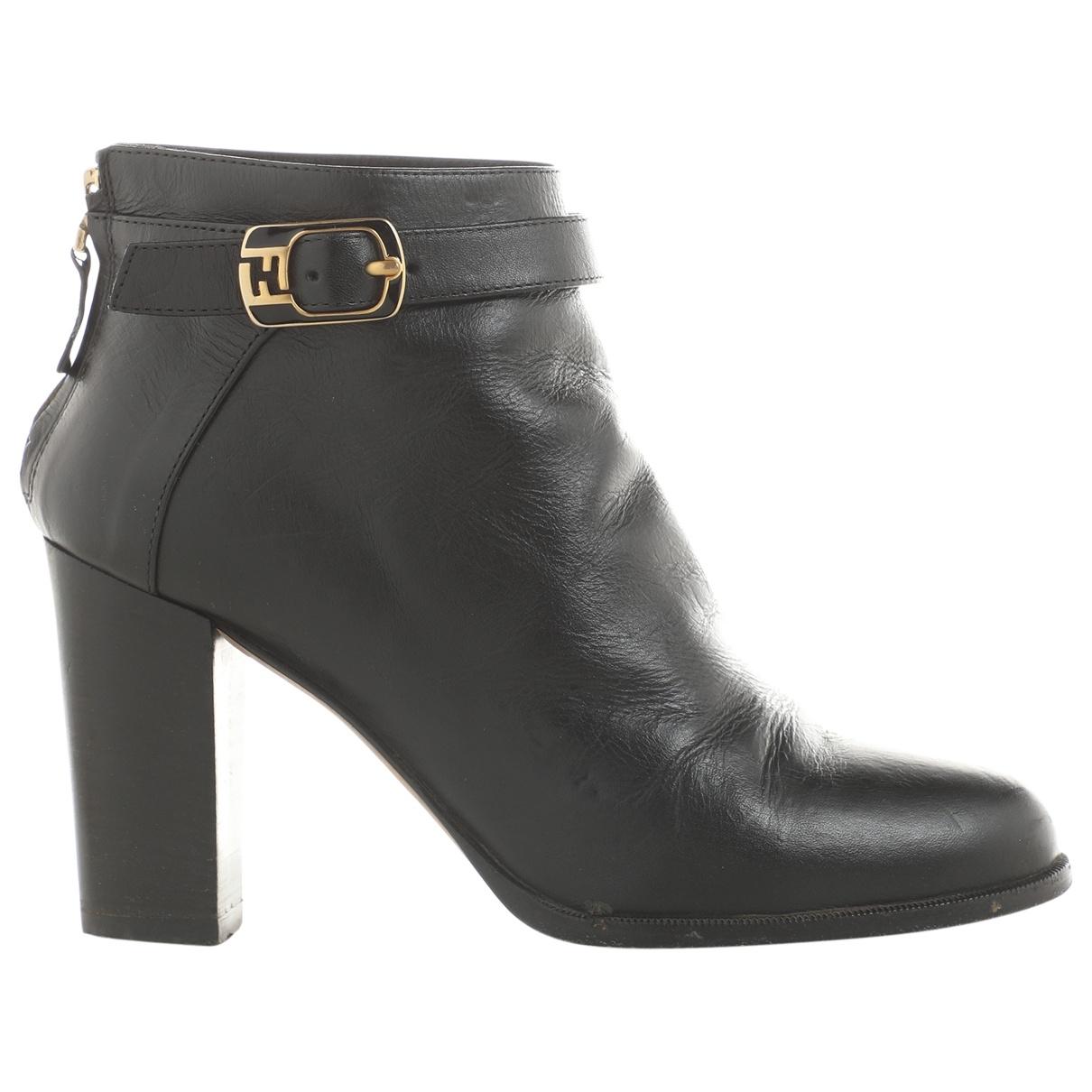 Fendi - Boots   pour femme en cuir - noir