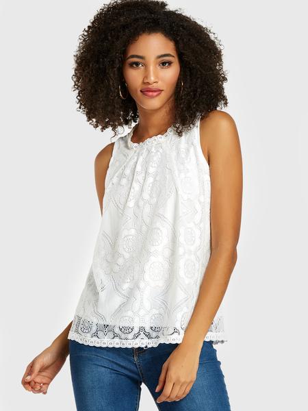 Yoins White Lace Tiered Design Sleeveless Tank Top