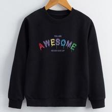Girls Slogan Graphic Sweatshirt