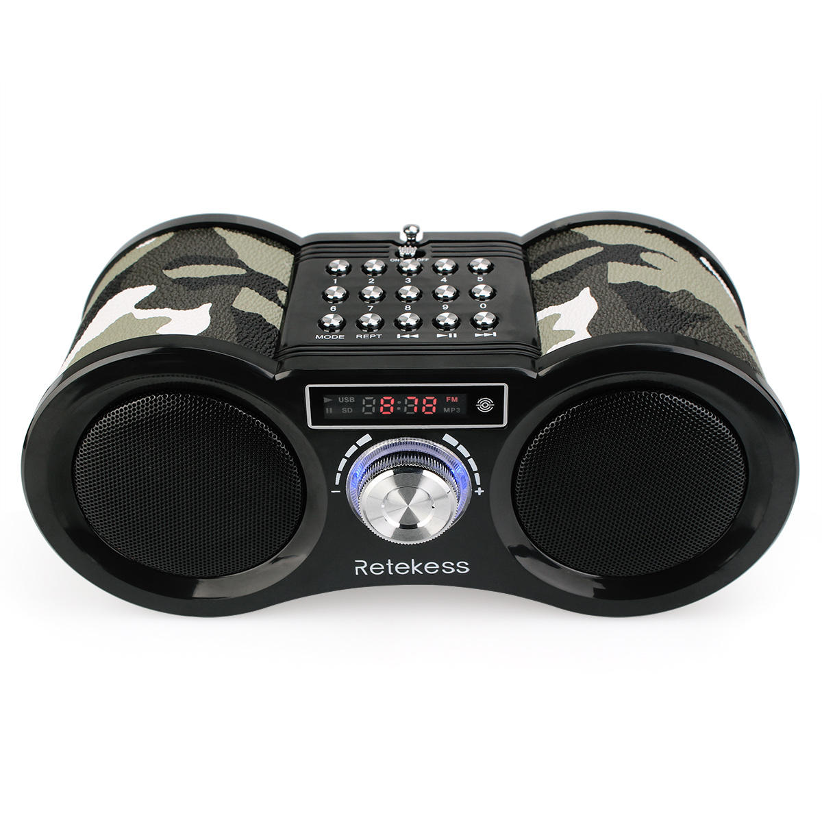 Retekess TIVDIO Digital Display FM AM Stereo Radio Dual 1.6W Bass Loudspeaker USB Disk SD Card MP3 Player AUX Speaker
