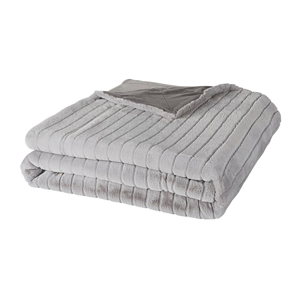 Decke aus grauem Kunstpelz mit ziselierten Streifen 140x180