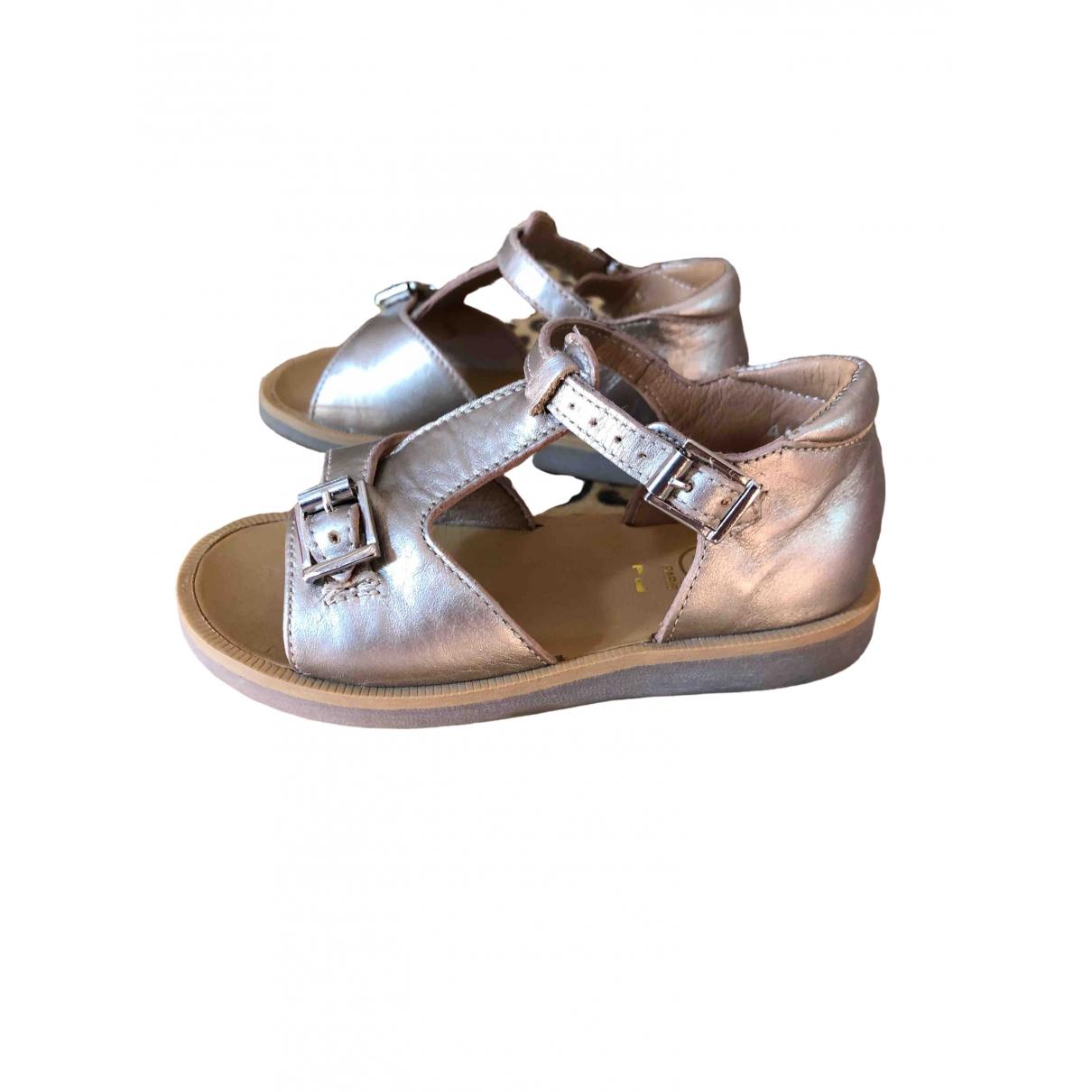 Pom D'api \N Gold Leather Sandals for Kids 24 EU