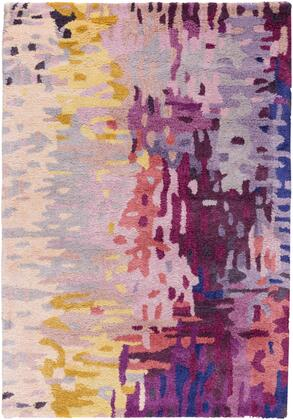 Banshee BAN-3344 2' x 3' Rectangle Modern Rug in Dark Purple  Lime  Camel  Garnet  Bright