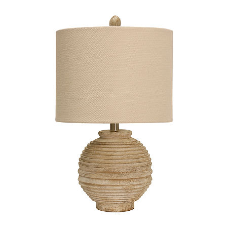 Stylecraft 12 5 W Distressed White Polyresin Table Lamp, One Size , White