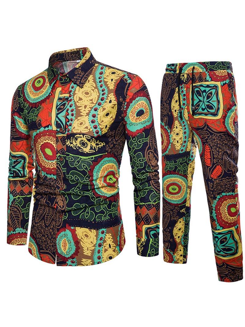 Ericdress Floral Print Color Block Mens Suit Shirt Pants