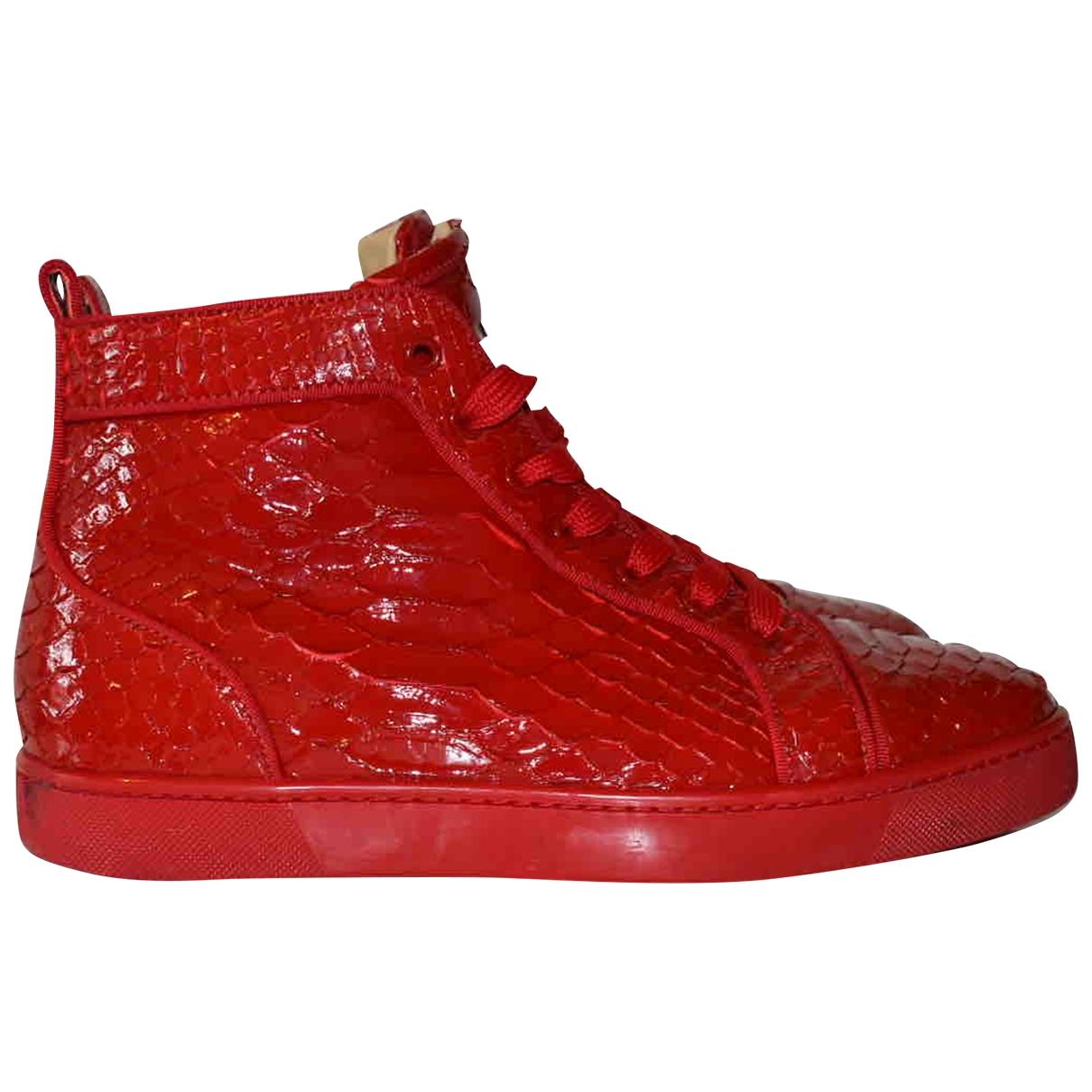 Christian Louboutin - Baskets Louis pour homme en python - rouge