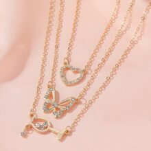 Rhinestone Decor Heart & Butterfly Charm Layered Necklace