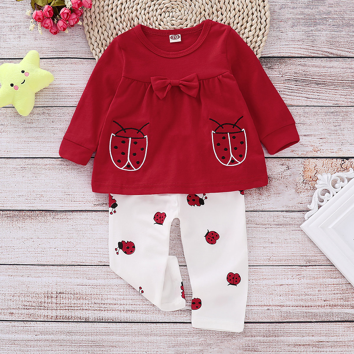 2Pcs Animal Print Baby Girls Tops + Pants Set For 0-24M