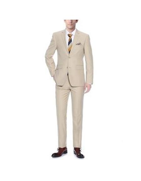 Mens Notch Lapel Single Breasted Tan Classic Fit Two-piece Suit