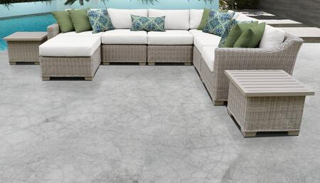 Coast Collection COAST-09c-WHITE 9-Piece Patio Set 09c with 1 Corner Chair   3 Armless Chair   1 Ottoman   2 End Table   1 Left Arm Chair   1 Right