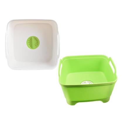 Wash & Drain Dish Bucket Tub with Draining Plug & Carry Handles, Random Color