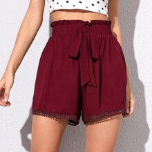 Guipure Lace Trim Elastic Waist Knot Shorts
