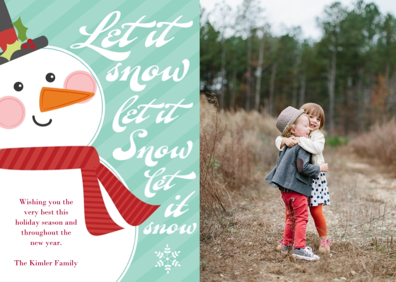 Christmas Photo Cards Flat Glossy Photo Paper Cards with Envelopes, 5x7, Card & Stationery -Let it Snow