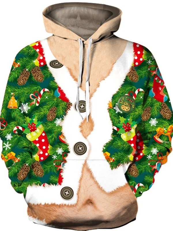 3D Funny False Two-piece Style Soft and Comfortable Christmas Hoodies with Big Pockets