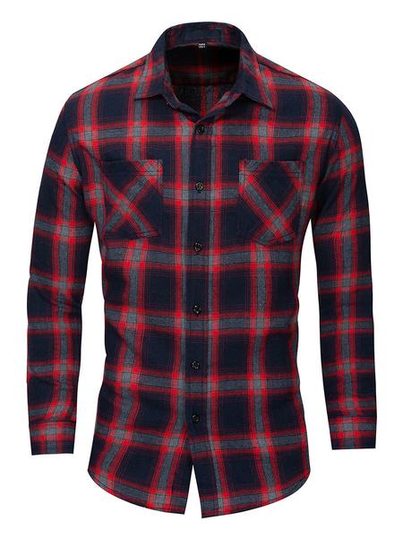 Milanoo Camisa de cuadros escoceses de algodon 100% regular fit para hombre con bolsillos