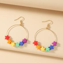 Colorful Star Decor Drop Earrings