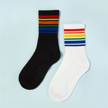 Guys Striped Ankle Socks 2pairs