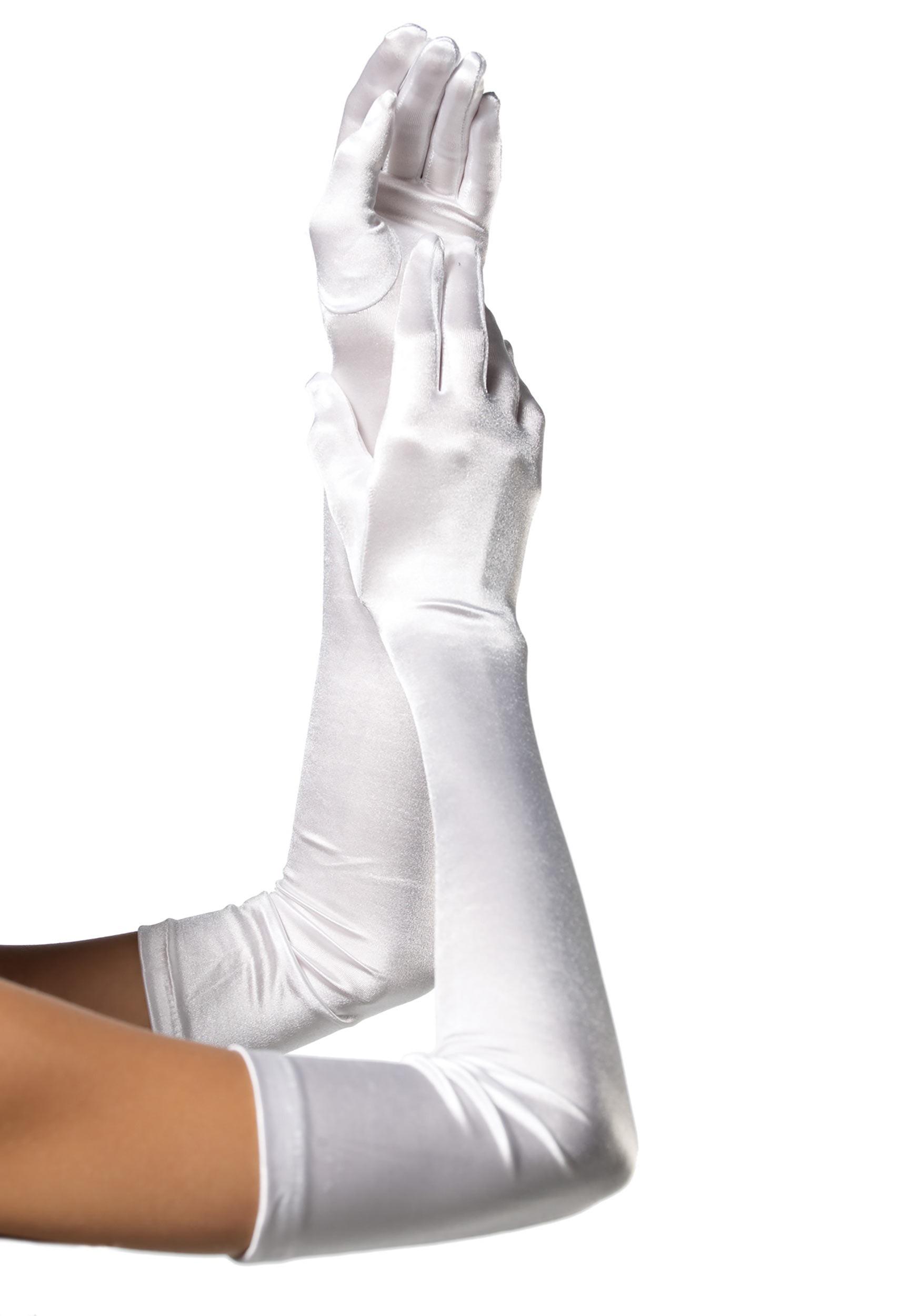 Extra Long White Satin Gloves for Women
