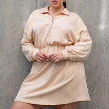Plus Letter Embroidery Elastic Waist Sweatshirt Dress