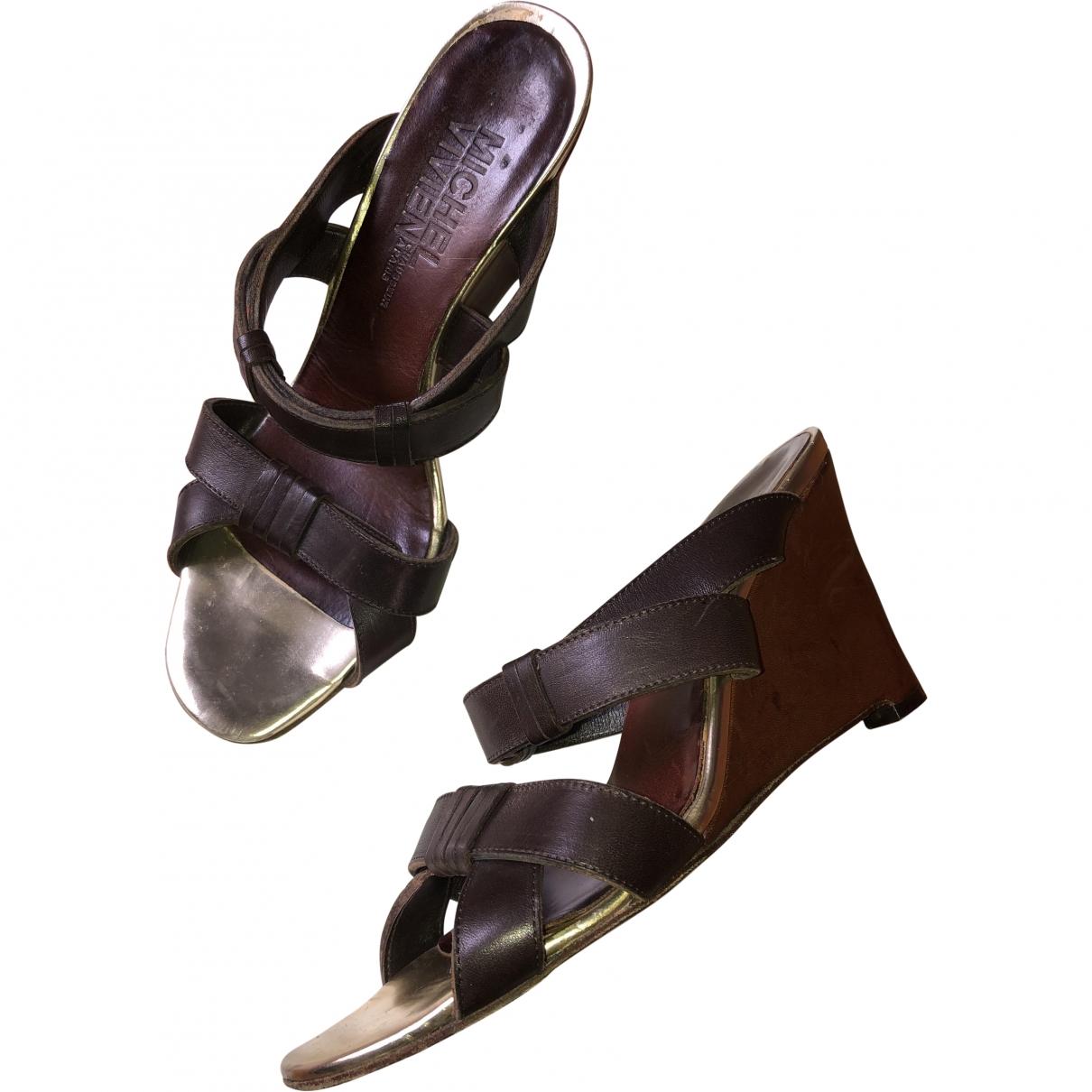 Michel Vivien \N Brown Leather Sandals for Women 37.5 EU