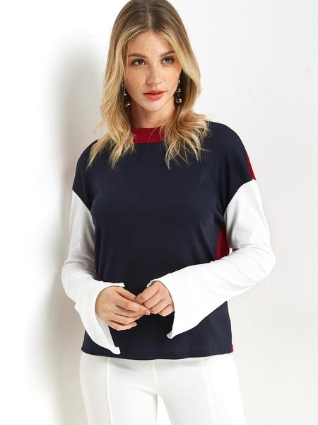 Yoins Color Block Plain Crew Neck Slit Design Long Sleeves T-shirts