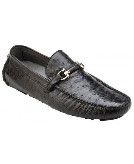 Men's Slip On Genuine Ostrich ~ Calfskin Black Leather Sneakers