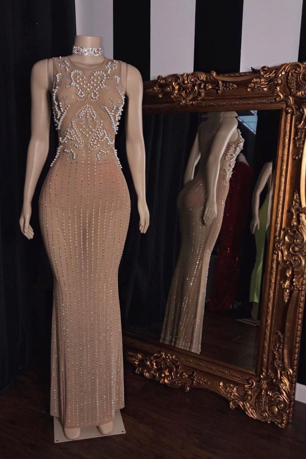 Luxuriose aermellose Perlen Perlen lange Meerjungfrau Abendkleider
