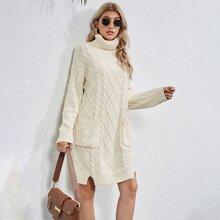 Pulloverkleid mit doppelten Taschen und Rollkragen