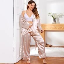 Satin Schlafanzug Set mit Wickel Design und Guertel