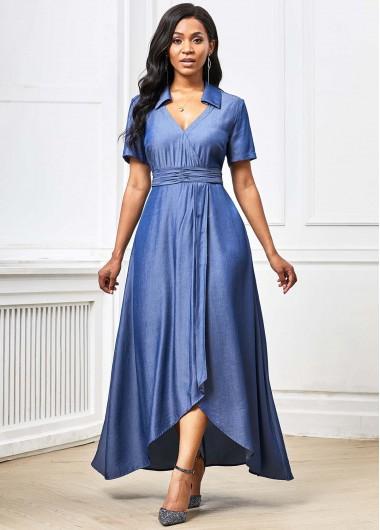 Cocktail Party Dress Short Sleeve Asymmetric Hem Plunging Neck Maxi Dress - L