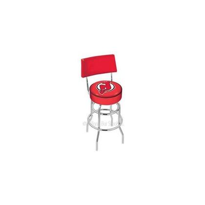 L7C425NJDevl 25 L7C4 - Chrome Double Ring New Jersey Devils Swivel Bar Stool with a