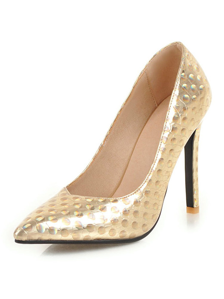 Milanoo Gold High Heels Women Pointed Toe Patterned Slip On Basic Pumps Shoes