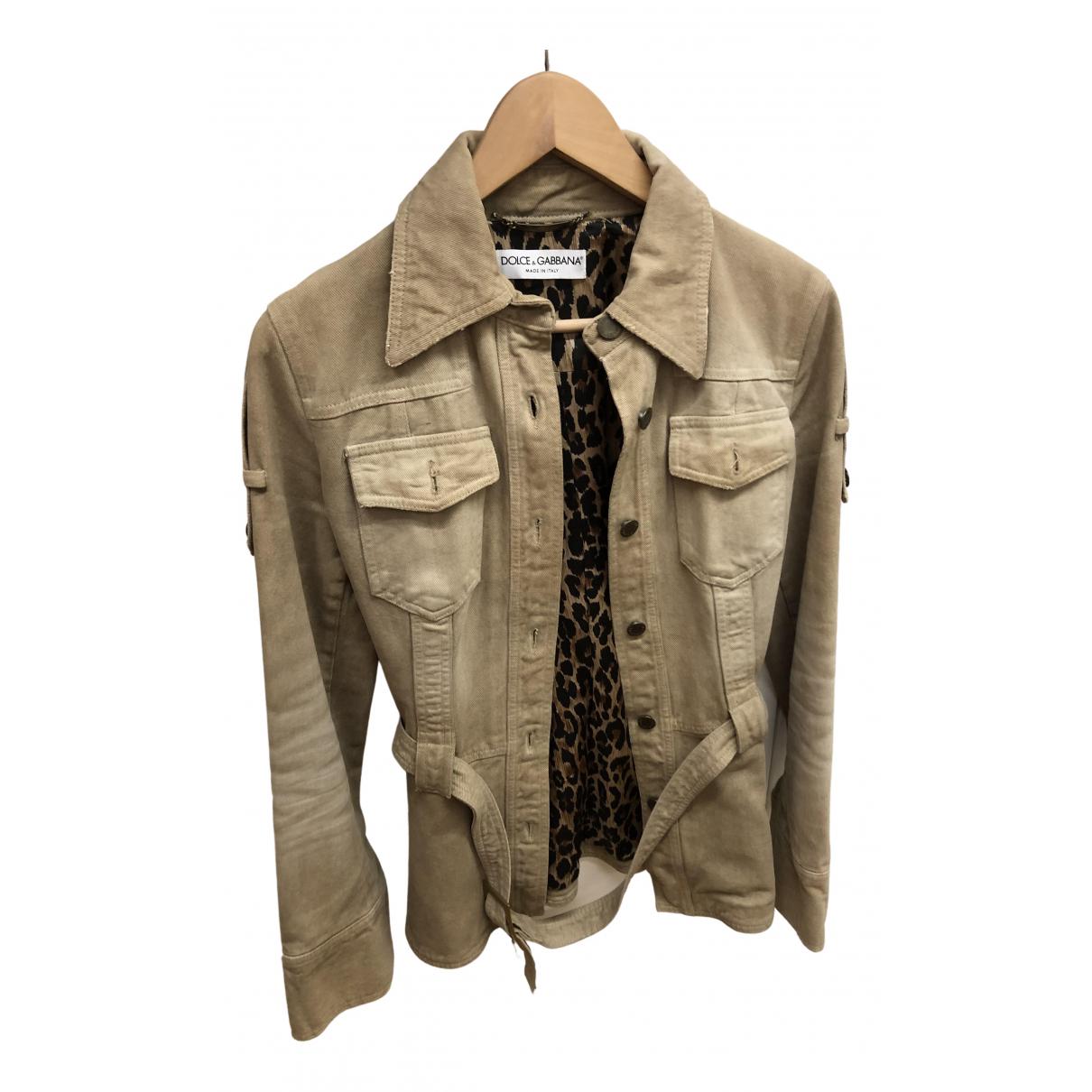 Dolce & Gabbana N Beige Denim - Jeans jacket for Women 40 IT