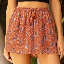 Shorts mit Quasten, Taillenband und breitem Beinschnitt