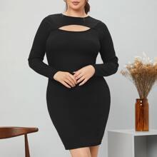 Figurbetontes Kleid mit Ausschnitt am Kragen