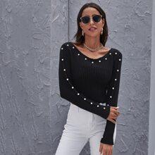 Strick Crop Pullover mit Perlen