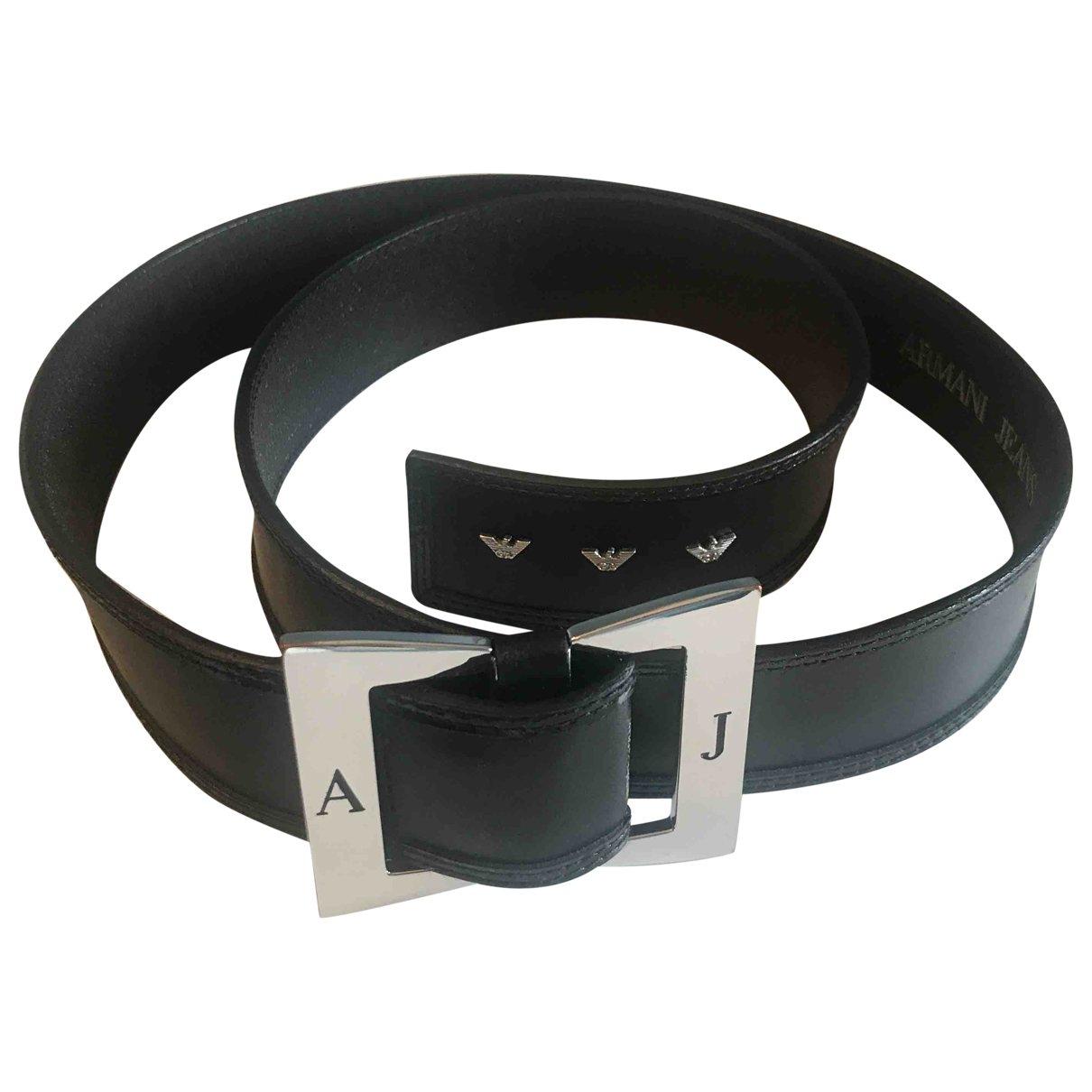 Armani Jeans \N Black Leather belt for Women S International
