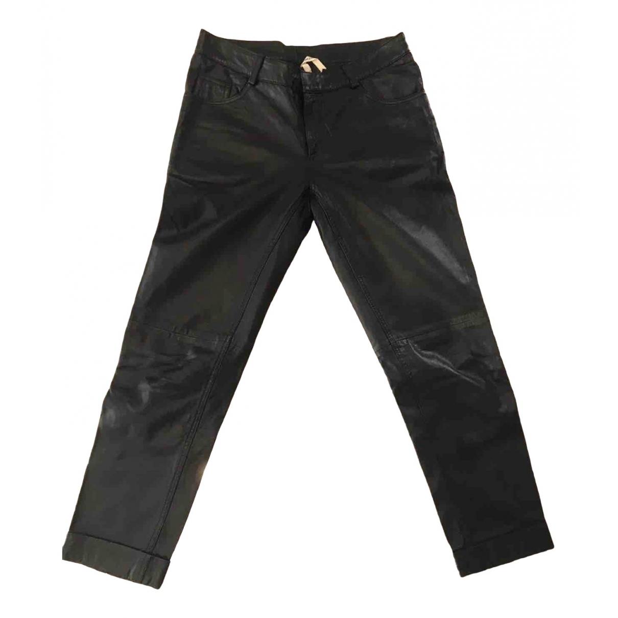 Leon & Harper \N Black Leather Trousers for Women 38 FR