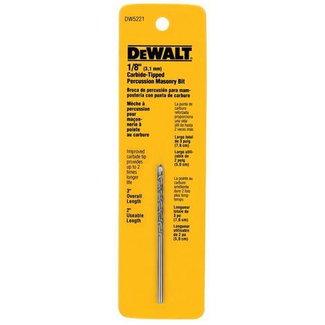 DeWalt 1/8 In. x 3 In. Premier Percussion Drill Bit