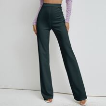 High Waist Solid Straight Pants