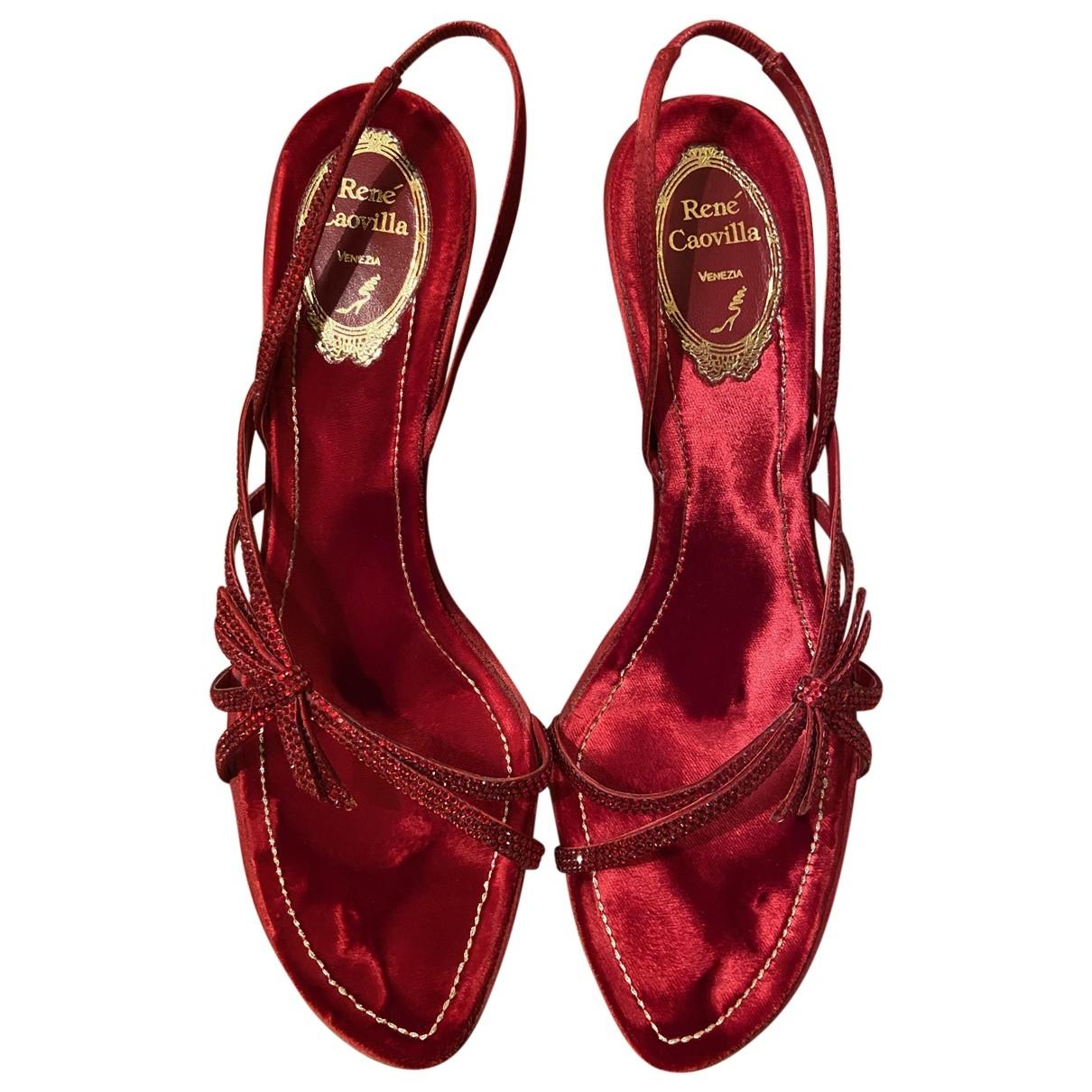Rene Caovilla - Sandales   pour femme en a paillettes - rouge