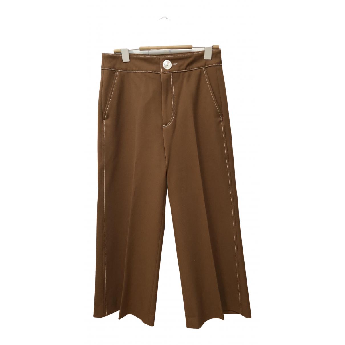 Zara \N Camel Cotton Trousers for Women 34 FR