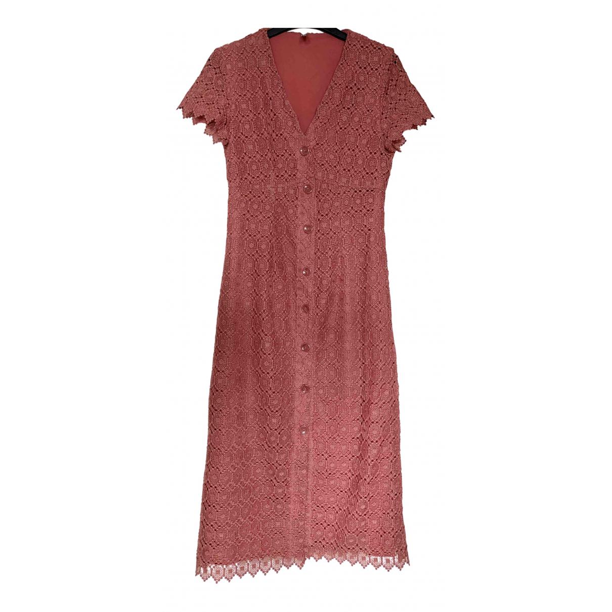 Mango - Robe   pour femme en dentelle - rose