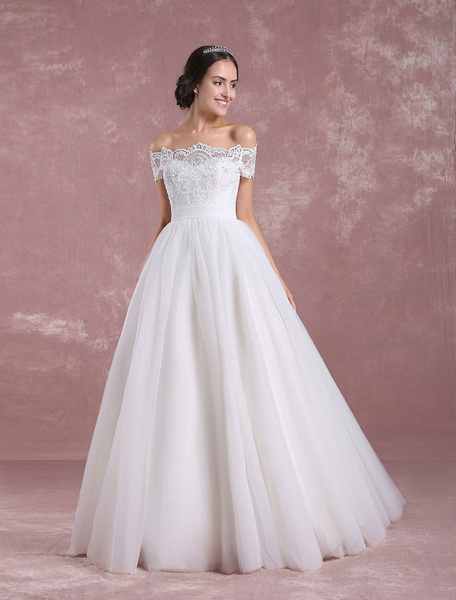 Milanoo Princess Wedding Dress Off The Shoulder Tulle Bridal Dress Ivory Lace Floor Length Bridal Gown