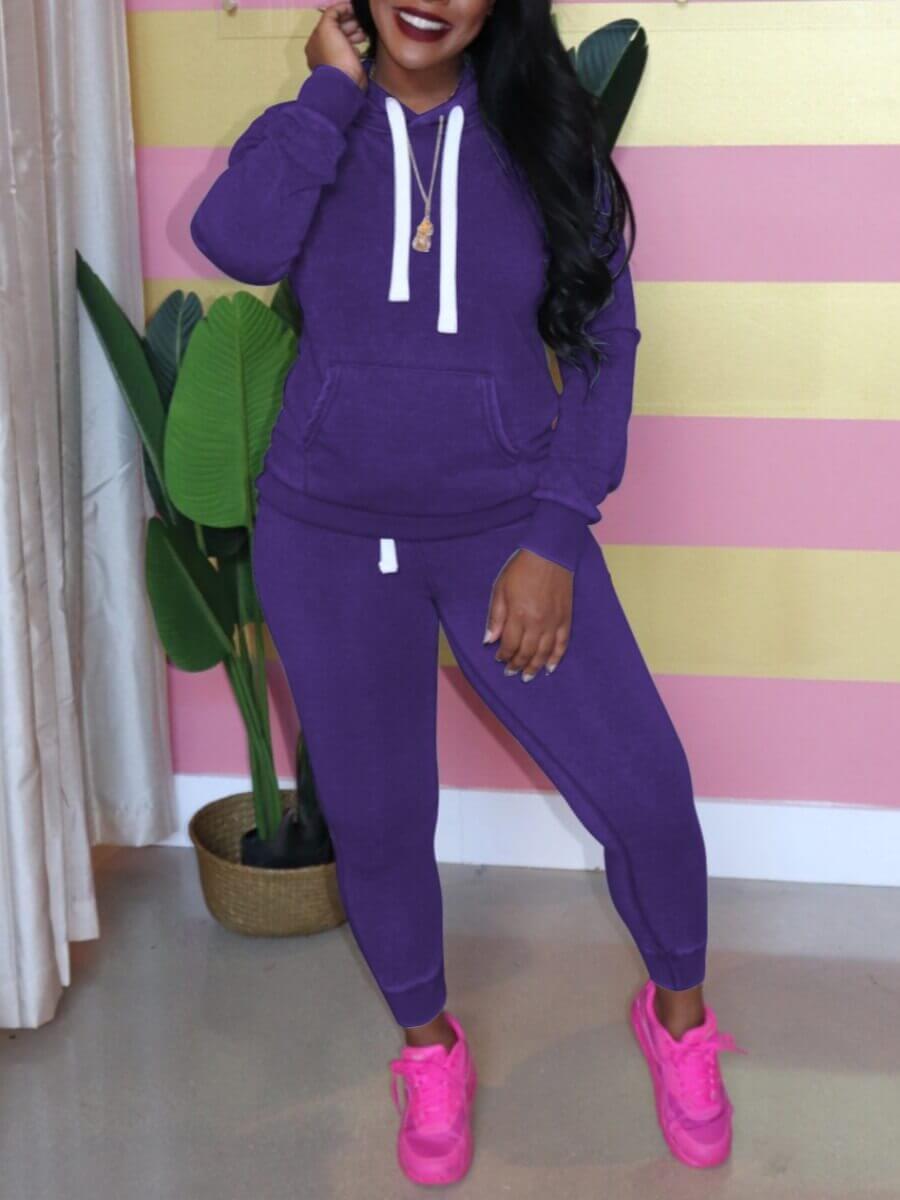 LW Lovely Casual Hooded Collar Kangaroo Pocket Purple Two Piece Pants Set